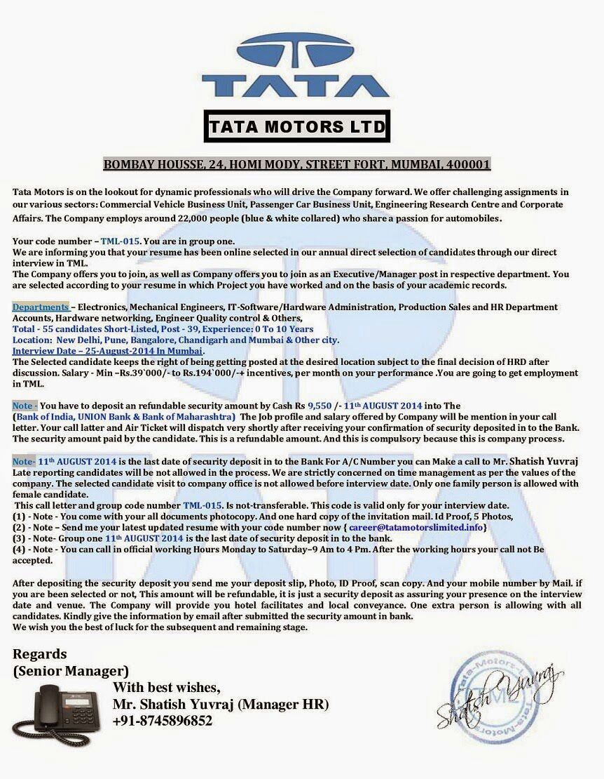 Fake TATA Motors Interview Call Letter detailsApnaahangout